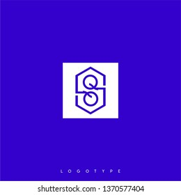 abstract white square with hexagon shape inside and QQ logo letters design concept with blue background