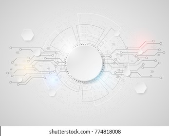 Abstract white technology background concept with various data hi-tech computer elements. Vector illustration