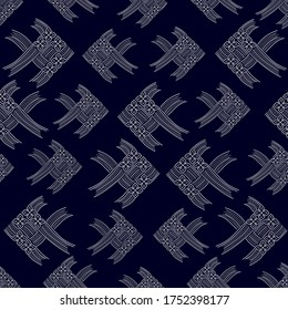 Abstract white thai carp fish weave or japanese origami style isolated on dark blue bacground, vector illustration, Seamless pattern for fabric printing, wallpaper, gift wrapping paper