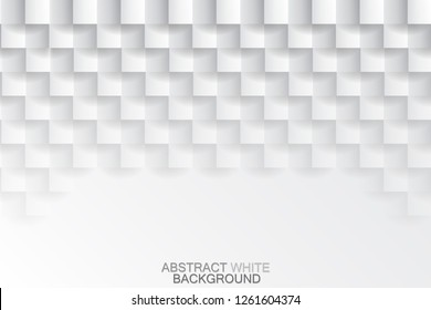 Abstract white tiled texture background, vector design.