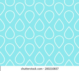 Abstract white water drops in a pearl pattern on a teal blue background. Seamless vector illustration.