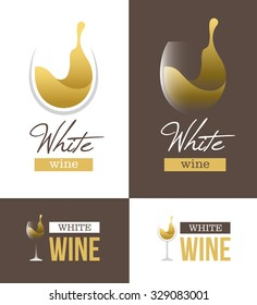 Abstract white wine logo with wine glass and text isolated on white and brown backgrounds