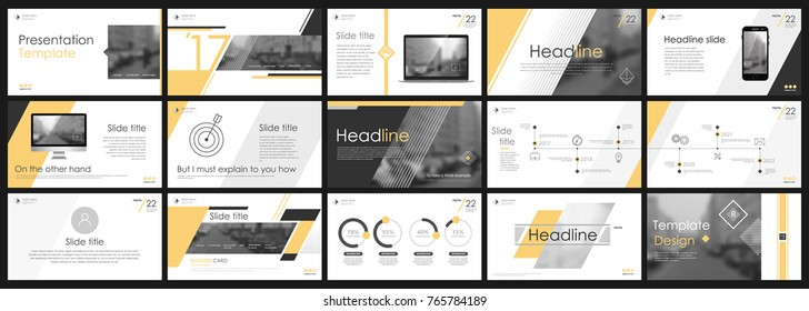 Abstract white, Yellow presentation slides. Modern brochure cover design. Fancy info banner frame. Creative infographic elements set. Urban city font. Vector title sheet model. Ad flyer style template