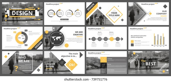 Abstract white, yellow, slides. Brochure cover design. Fancy info banner frame. Creative set of infographic elements. Urban. Title sheet model set. Modern vector.  Presentation templates, corporate.
