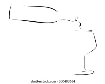 Abstract Wine Bottle Pouring into a Wineglass
