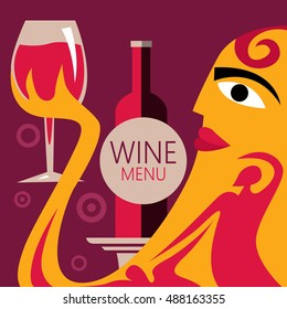 Abstract Wine Poster, Wine Bottle, People (Vector Art)