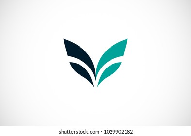 abstract wing letter V logo