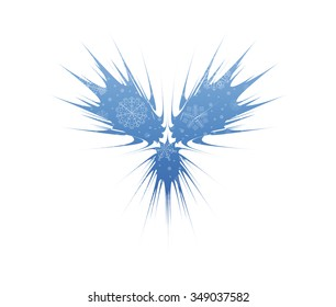 abstract wings christmas icon with snow