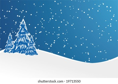 Abstract winter background with christmas tree and snow