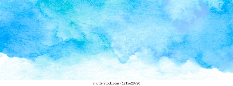 Abstract winter background, hand painted blue watercolor texture, vector illustration