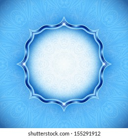 "Abstract winter background. Ornamental design. Cold. Blue background for your ""Merry Christmas"" or ""Happy new year"" cards design. Backdrop can be used for wedding invitation or restaurant menu."