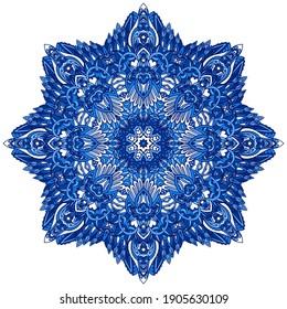 Abstract Winter Blue ethnic geometric arabesque mandala. Cute Snowflake in folk art style. Turkish style medallion