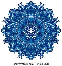 Abstract Winter Blue ethnic geometric mandala background