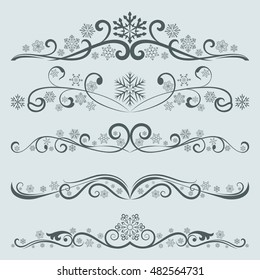 Abstract winter Christmas dividers with snowflakes vector set.