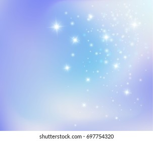 Abstract winter colors background, vector illustration. Magic sparkle lights, pixie dust background. Fairy tale stardust blue wallpaper concept.