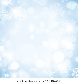 Abstract Winter Holiday Background With Snowflakes and Stars