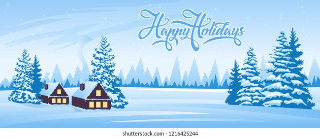 Abstract winter landscape with firs and house. Text Happy Holidays
