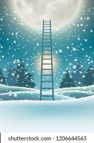 Abstract winter motive, snowy forest with big moon and abstract ladder, vector illustration, eps 10 with transparency