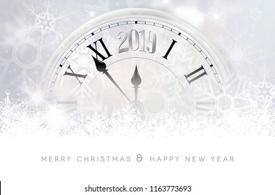 Abstract winter snowy background with segment of abstract old clock with 2019 new year number - Merry Christmas and Happy New Year card. Vector illustration.
