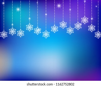 Abstract winter vector background with snowflakes and sparkles, eps 10.