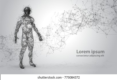 Abstract Wire frame human body. Polygonal 3d model on white abstract background. Dots and Lines Low Poly