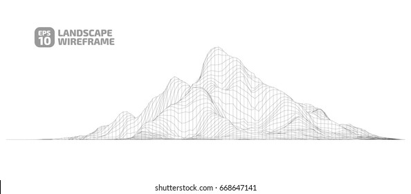 Abstract wireframe background. 3D grid technology illustration landscape. Digital Cyberspace in the  Mountains with valleys. EPS10 Vector.