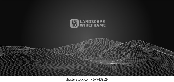 Abstract wireframe background. 3D grid technology illustration landscape. Digital Terrain Cyberspace in the Mountains with valleys | EPS10 Vector.