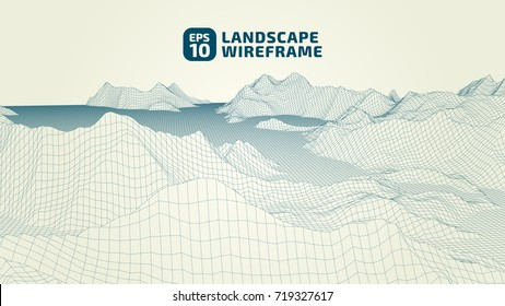 Abstract wireframe background. 3D grid technology illustration landscape. Digital Terrain Cyberspace in the Mountains with valleys. Data Array | EPS10 Vector.