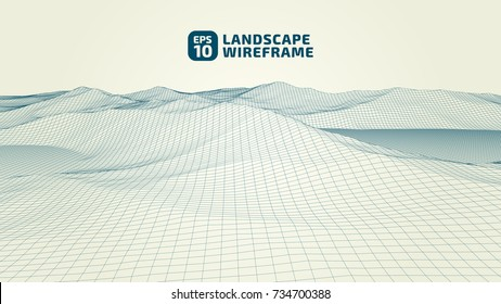 Abstract wireframe background. 3D grid technology illustration landscape. Digital Terrain Cyberspace in the Mountains with valleys. Data Array. | EPS10 Vector.