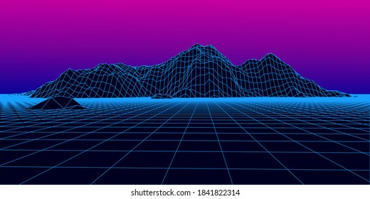 Abstract wireframe landscape 1980s style. Retro futuristic vector grid. Technology neon background with mountains.