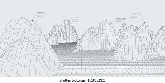 Abstract wireframe landscape background. Futuristic cyberspace grid. Big data concept with lines.