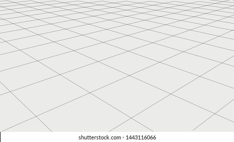 Abstract wireframe landscape.  Detailed lines on white background. 3d abstract grid backdrop