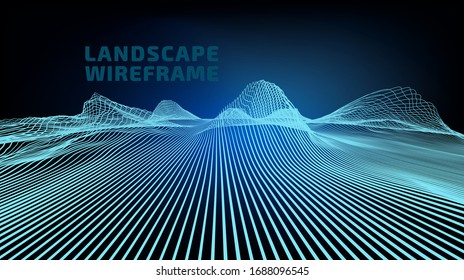 Abstract wireframe landscape of only one parallel lines, background. 3D mesh technology perspective illustration. Cyberspace digital terrain in the mountains with valleys. Data array. Vector.