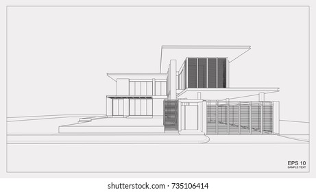 Abstract wireframe perspective of 3D building. 3D rendering of house.