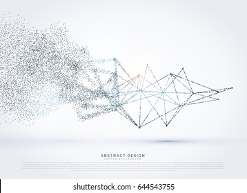 Abstract wireframe poly mesh network fading in particle