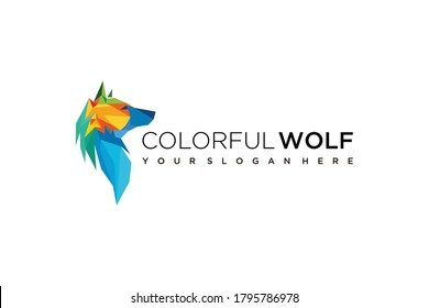 abstract wolf colorful logo design icon vector