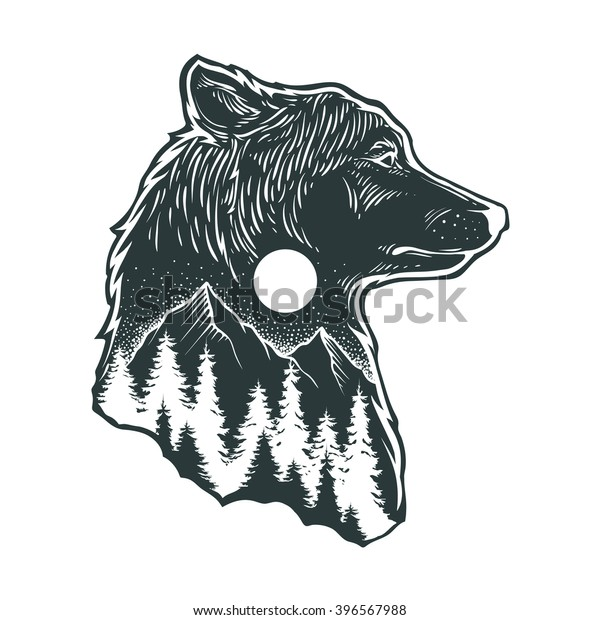 Abstract Wolf Forest Stock Vektorgrafik Lizenzfrei 396567988