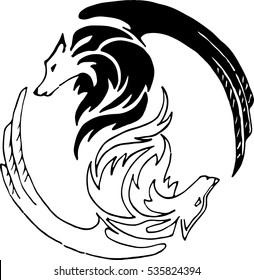 abstract wolf symbol of yin yang
