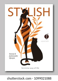 Abstract woman with bag and big cat panter in ethnic style. Fashion magazine cover design for the summer holiday season. Vector illustration