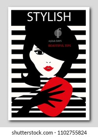 Abstract woman with beret and red clutch on striped background. Fashion magazine cover design. Vector illustration