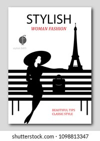 Abstract woman with big hat and bag on bench in Paris. Fashion magazine cover design. Vector illustration