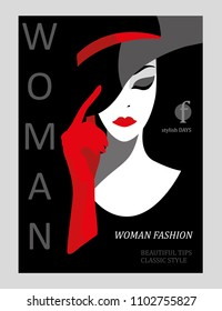 Abstract woman with big hat and red gloves. Fashion magazine cover design. Vector illustration