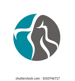 Abstract woman body silhouette logo design template vector illustration