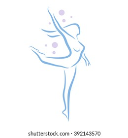 Abstract woman dancing, dancer silhouette, line art