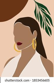 Abstract Woman with Earring Print , Abstract Girl Wall Art, Terracotta Girl, Printable Wall Art, Poster,  Boho Art, illustration, Vector