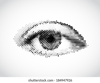Abstract woman eye made from dots. Vector