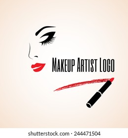 Abstract woman face with closed eye. Trace of lipstick. Makeup artist logo. Vector illustration. Make up card. Make up ?utaway.