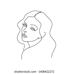 Abstract Woman face. Continuous line drawing. Editable line