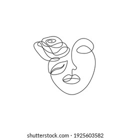 Abstract Woman Face with Flower Line Vector Drawing. Style Template with Female Face with Flowers. Modern Minimalist Simple Linear Style. Beauty Fashion Design