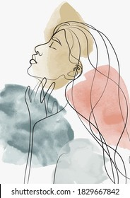 Abstract woman face illustration with watercolor background - Line Art girl portrait sketch - Hand drawn vector poster print
